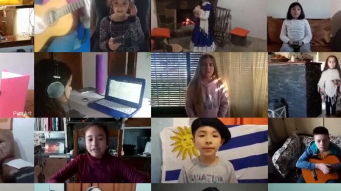 Homenaje a José G. Artigas: alumnos de la escuela de Arte de Primaria N° 113 de Paysandú